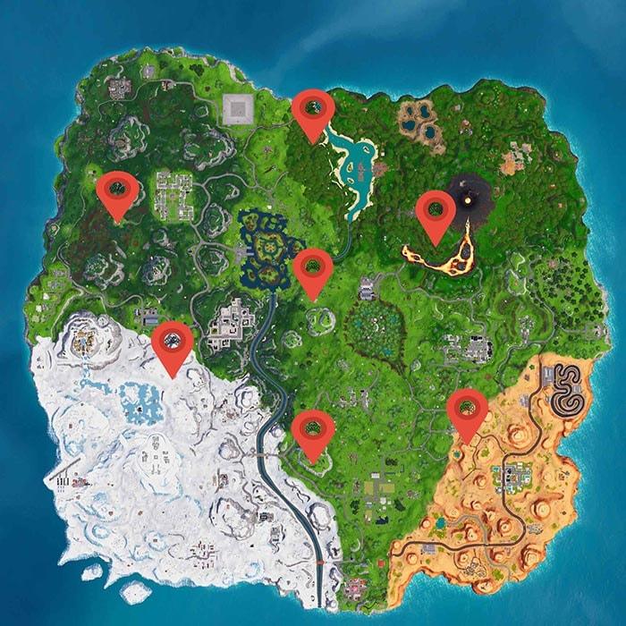 mapa con todos los campamentos piratas de fortnite