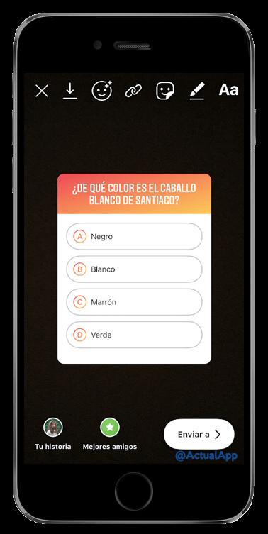 cuestionario en instagram stories