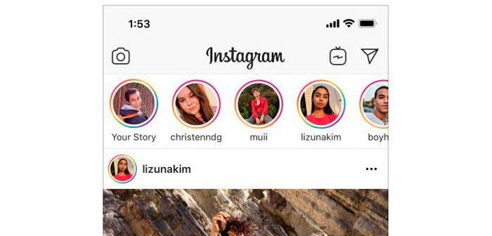 anillo de las historias de Instagram en color arcoíris