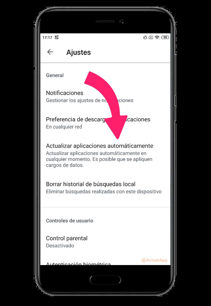 actualizaciones automáticas de las apps