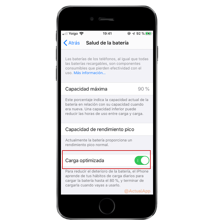 carga optimizada de ios 13