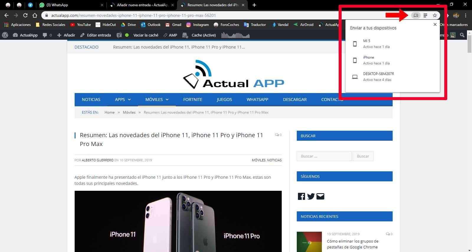 web de ordenador a móvil google chrome