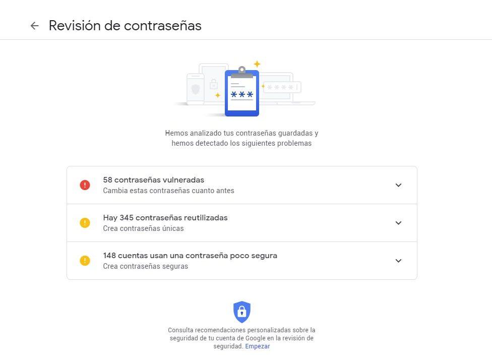 cambiar tus contraseñas google chrome