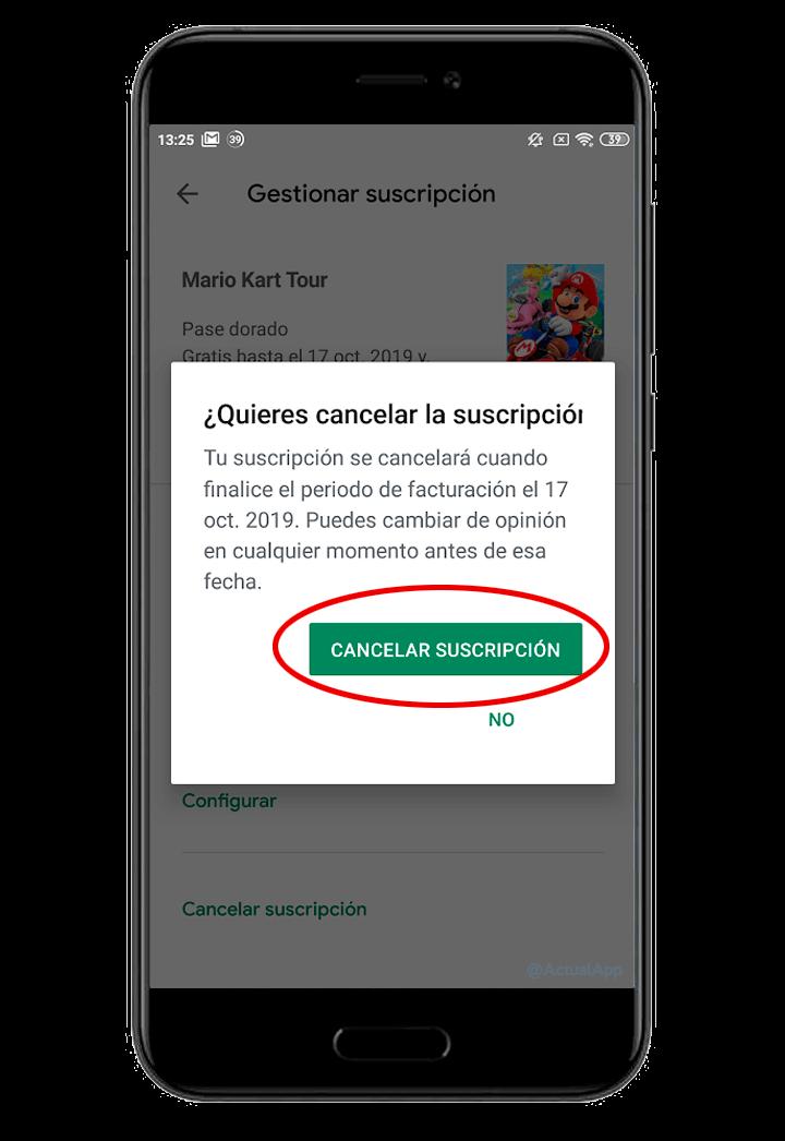 cancelar suscripción del Google Play