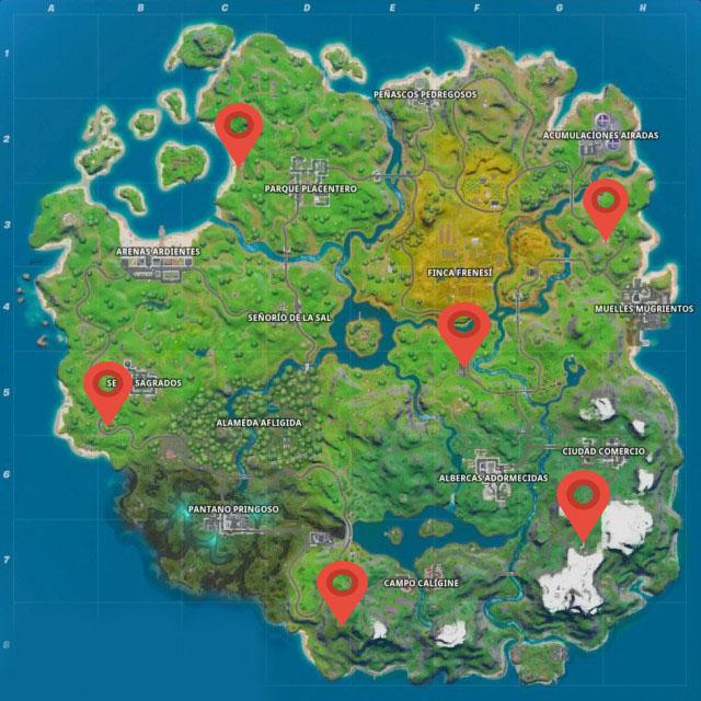 mapa fortnite puestos avanzadas