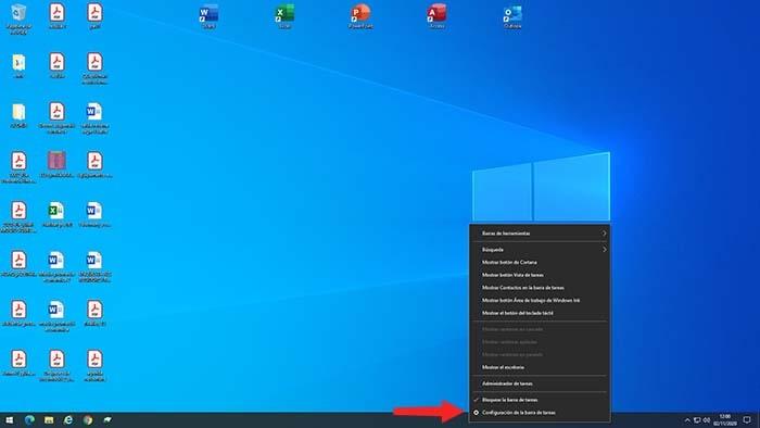 ocultar barra de inicio en windows 10