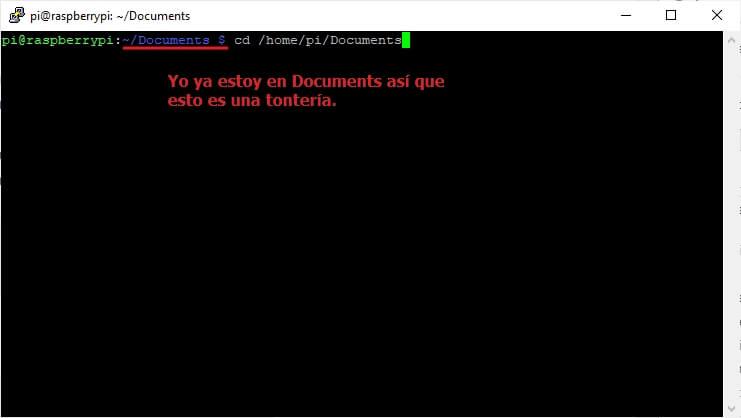 dirigrse a carpeta documents raspbian