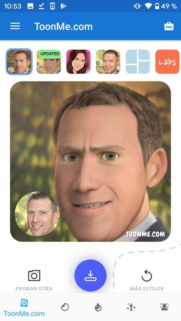 toonme filtro pixar