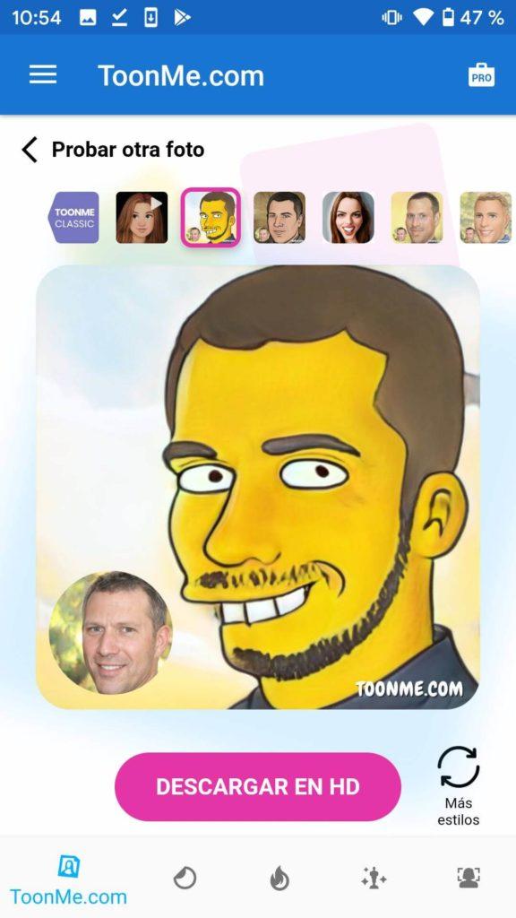 toonme filtro los simpsons