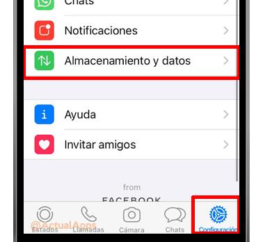 almacenamiento y datos whatsapp