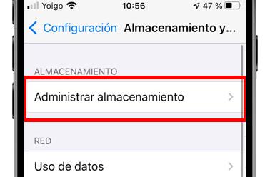 administrar almacenamiento whatapp ios