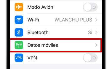ajustes iphone datos móviles