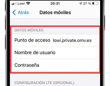 ajustes iphone punto de acceso datos móviles