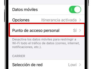 ajustes iphone punto de acceso personal activado