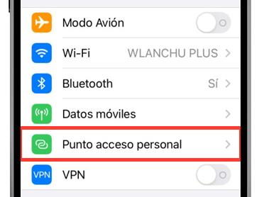 ajustes iphone punto de acceso personal ajustes