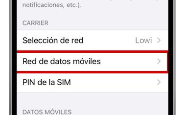 ajustes iphone red de datos móviles