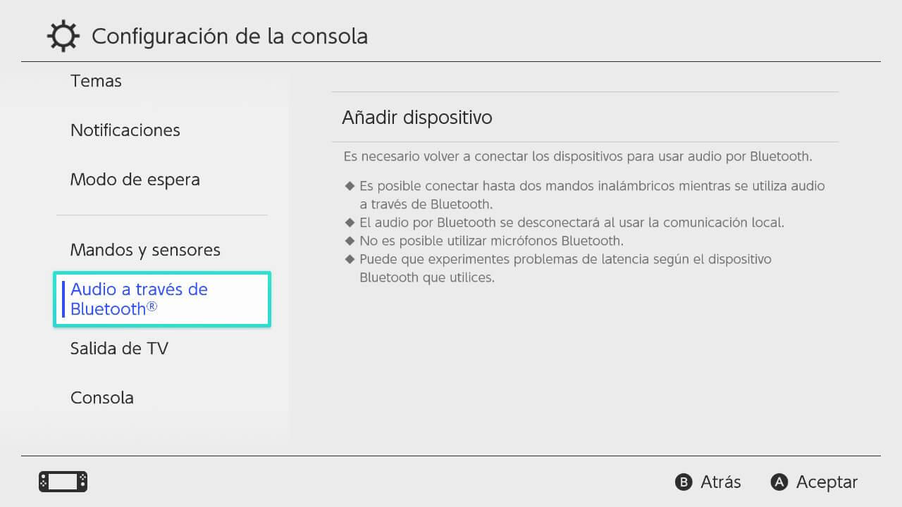 añadir dispositivo bluetooth nintendo switch